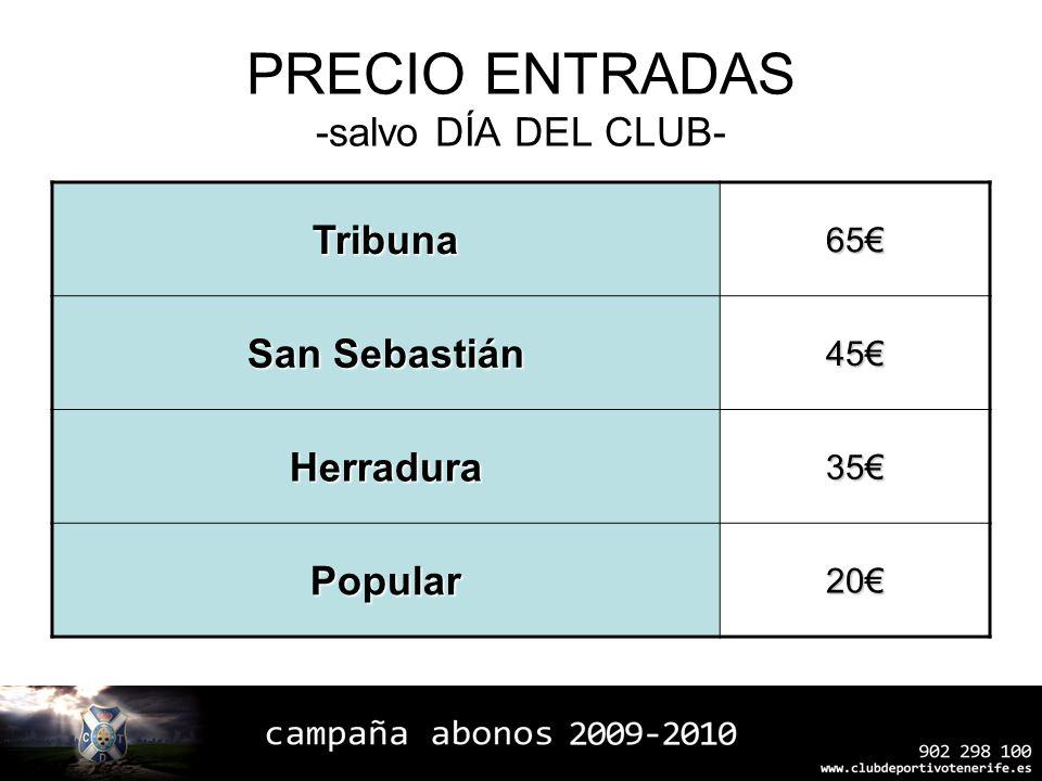 PRECIO ENTRADAS -salvo DÍA DEL CLUB- Tribuna65 San Sebastián 45 Herradura35 Popular20