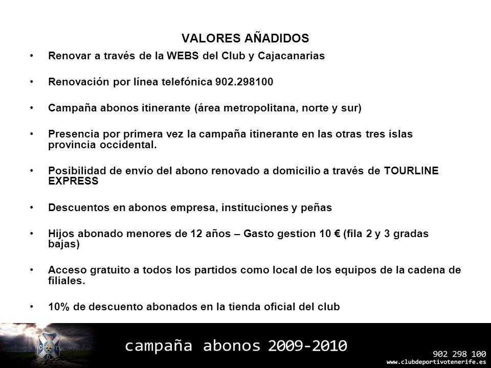 VALORES AÑADIDOS Renovar a través de la WEBS del Club y Cajacanarias Renovación por línea telefónica 902.298100 Campaña abonos itinerante (área metrop