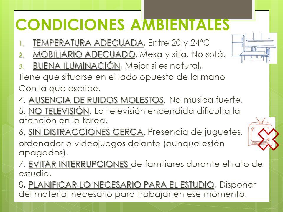 CONDICIONES AMBIENTALES 1. TEMPERATURA ADECUADA 1. TEMPERATURA ADECUADA. Entre 20 y 24ºC 2. MOBILIARIO ADECUADO 2. MOBILIARIO ADECUADO. Mesa y silla.