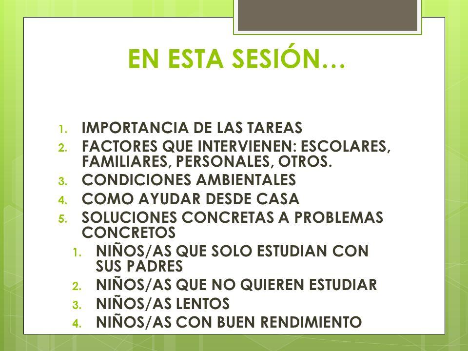 EN ESTA SESIÓN… 1. IMPORTANCIA DE LAS TAREAS 2. FACTORES QUE INTERVIENEN: ESCOLARES, FAMILIARES, PERSONALES, OTROS. 3. CONDICIONES AMBIENTALES 4. COMO