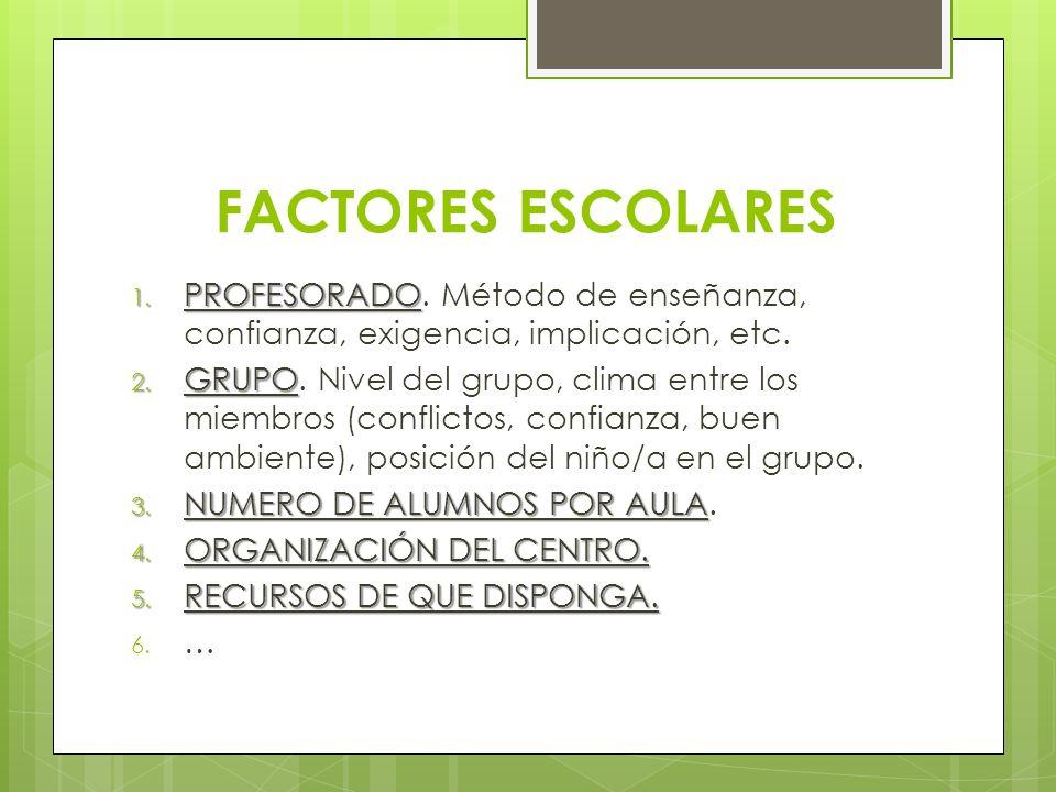 FACTORES ESCOLARES 1. PROFESORADO 1. PROFESORADO. Método de enseñanza, confianza, exigencia, implicación, etc. 2. GRUPO 2. GRUPO. Nivel del grupo, cli