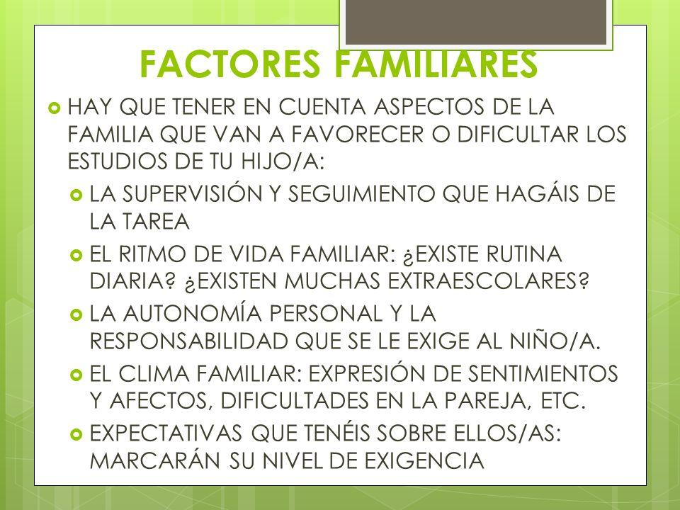 FACTORES FAMILIARES HAY QUE TENER EN CUENTA ASPECTOS DE LA FAMILIA QUE VAN A FAVORECER O DIFICULTAR LOS ESTUDIOS DE TU HIJO/A: LA SUPERVISIÓN Y SEGUIM