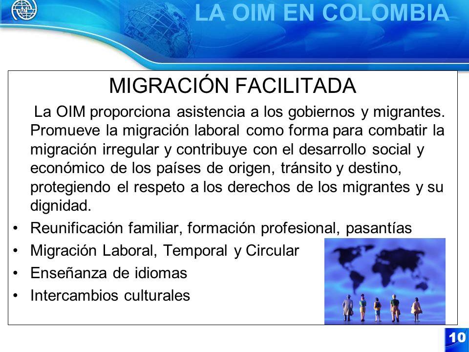 10 MIGRACIÓN FACILITADA La OIM proporciona asistencia a los gobiernos y migrantes. Promueve la migración laboral como forma para combatir la migración