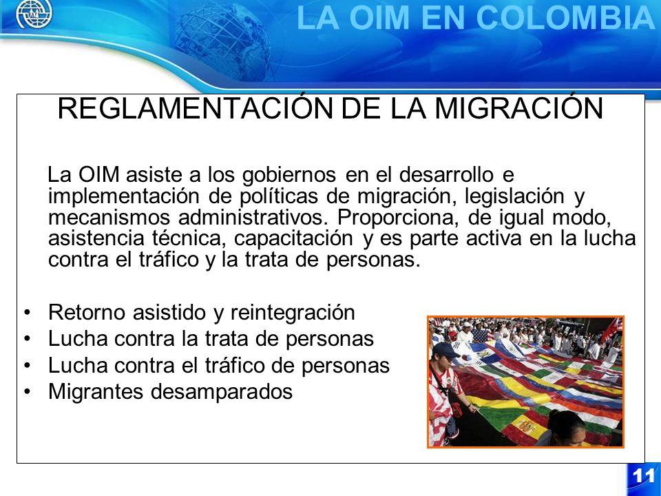 11 REGLAMENTACIÓN DE LA MIGRACIÓN La OIM asiste a los gobiernos en el desarrollo e implementación de políticas de migración, legislación y mecanismos