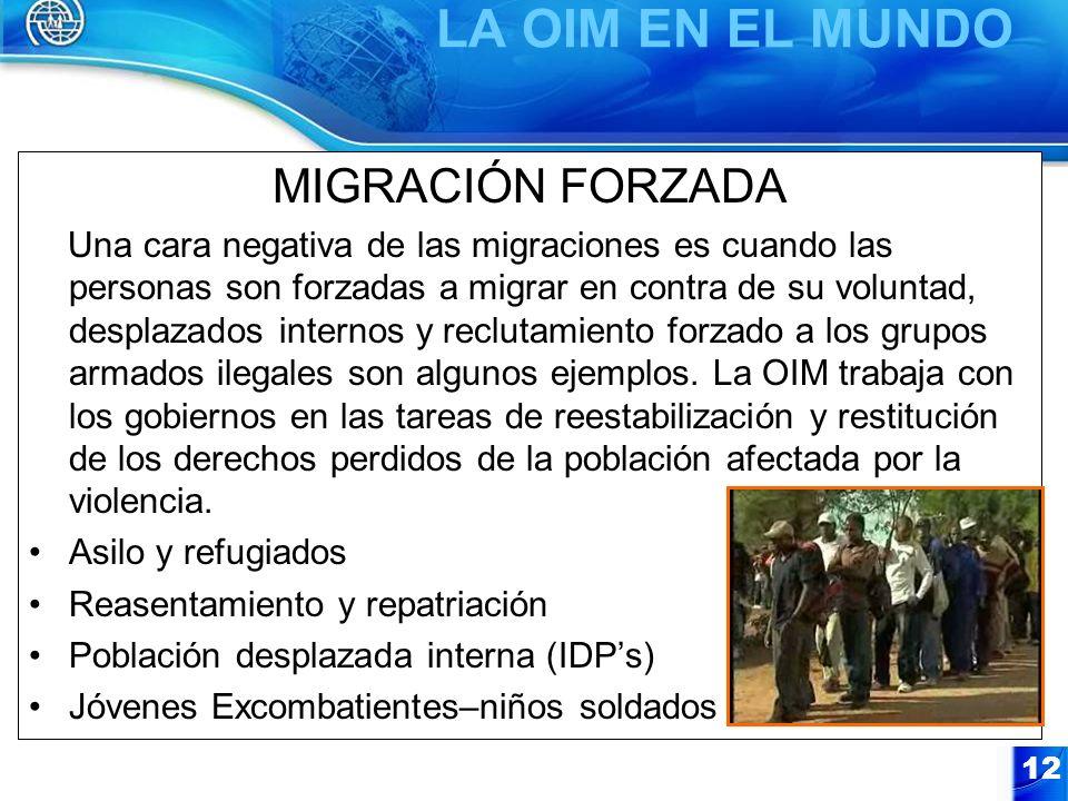 12 MIGRACIÓN FORZADA Una cara negativa de las migraciones es cuando las personas son forzadas a migrar en contra de su voluntad, desplazados internos