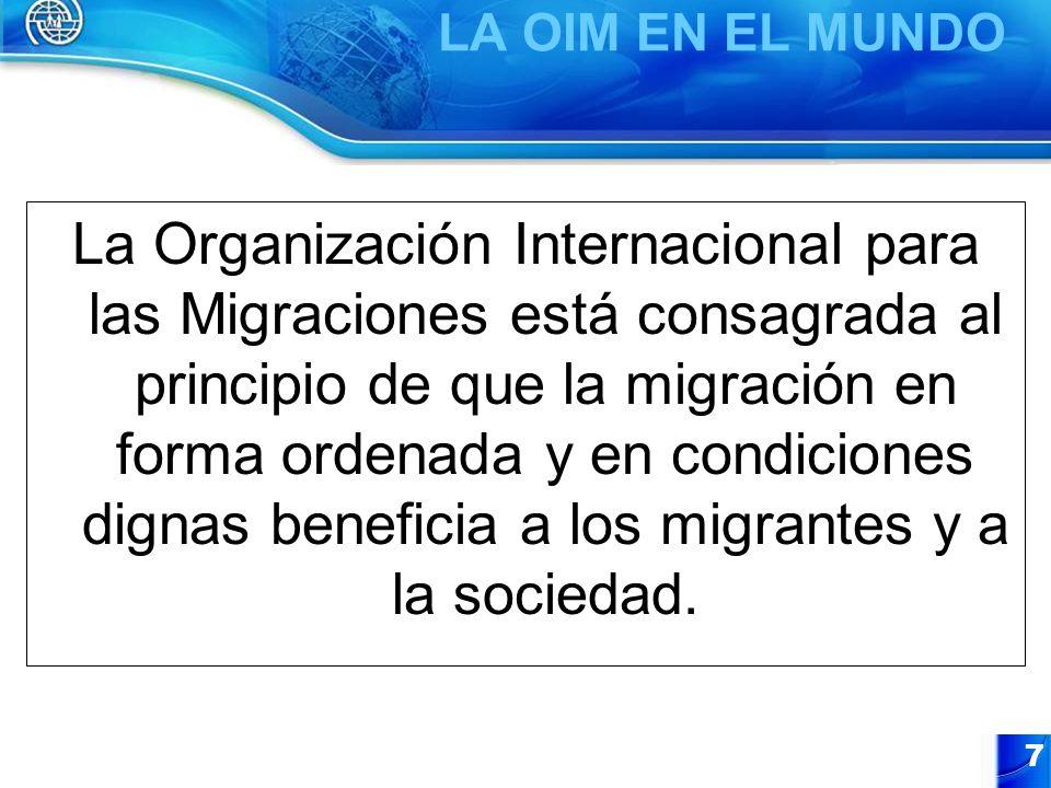7 La Organización Internacional para las Migraciones está consagrada al principio de que la migración en forma ordenada y en condiciones dignas benefi