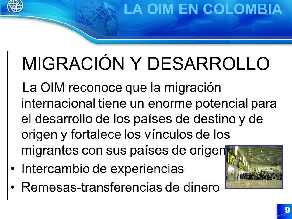 9 MIGRACIÓN Y DESARROLLO La OIM reconoce que la migración internacional tiene un enorme potencial para el desarrollo de los países de destino y de ori