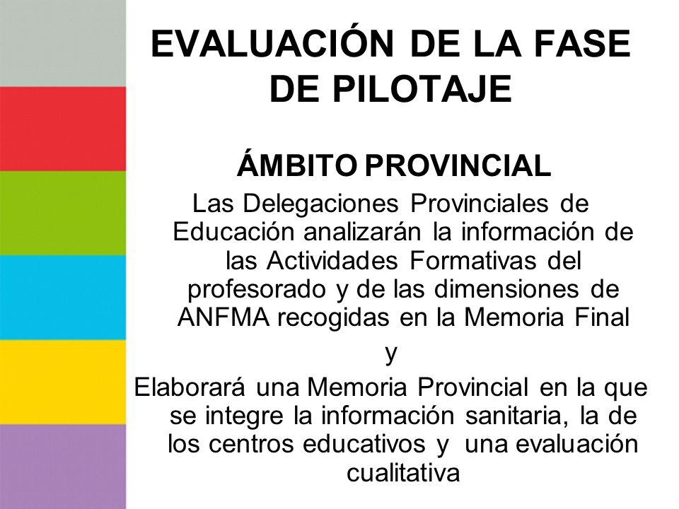 EVALUACIÓN DE LA FASE DE PILOTAJE ÁMBITO PROVINCIAL Las Delegaciones Provinciales de Educación analizarán la información de las Actividades Formativas