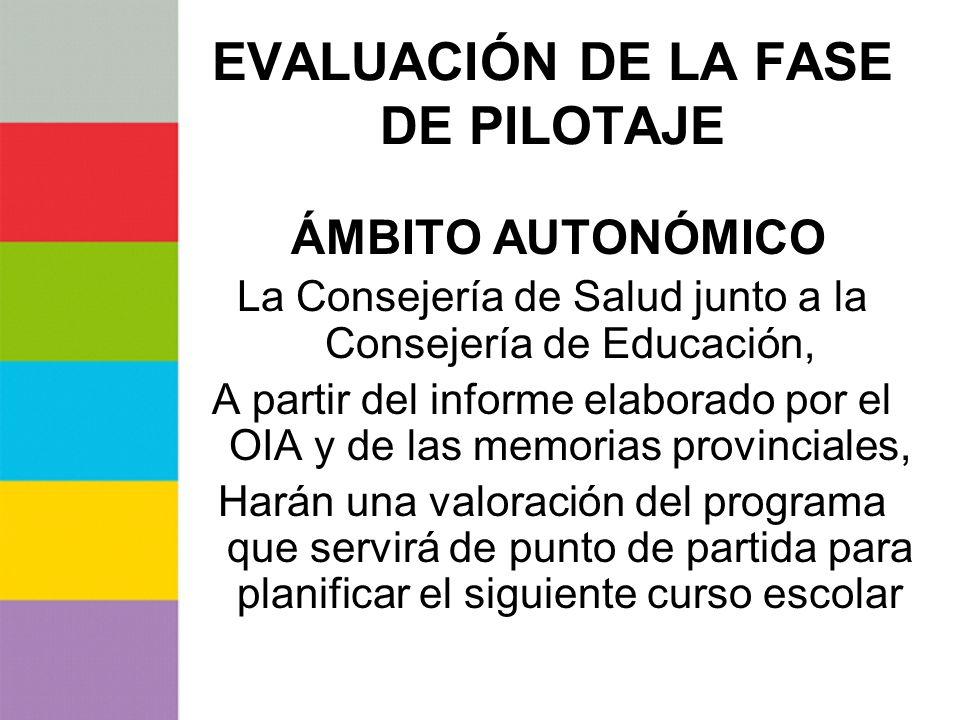 EVALUACIÓN DE LA FASE DE PILOTAJE ÁMBITO AUTONÓMICO La Consejería de Salud junto a la Consejería de Educación, A partir del informe elaborado por el O