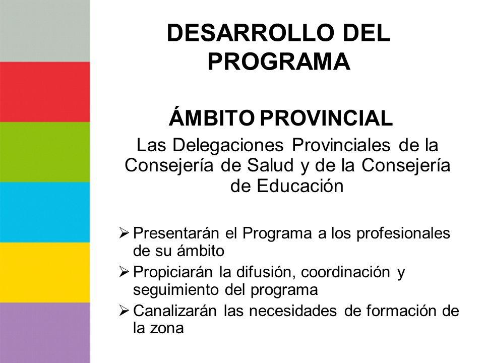 DESARROLLO DEL PROGRAMA ÁMBITO PROVINCIAL Las Delegaciones Provinciales de la Consejería de Salud y de la Consejería de Educación Presentarán el Progr