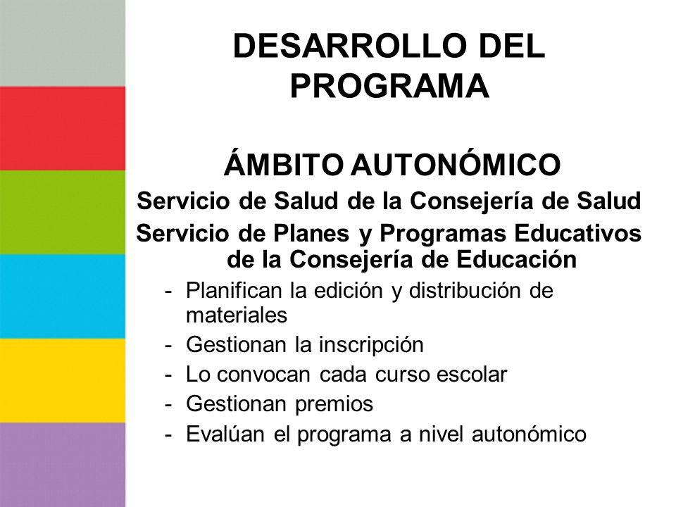 DESARROLLO DEL PROGRAMA ÁMBITO AUTONÓMICO Servicio de Salud de la Consejería de Salud Servicio de Planes y Programas Educativos de la Consejería de Ed