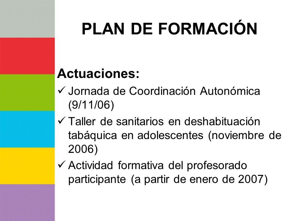 PLAN DE FORMACIÓN Actuaciones: Jornada de Coordinación Autonómica (9/11/06) Taller de sanitarios en deshabituación tabáquica en adolescentes (noviembr