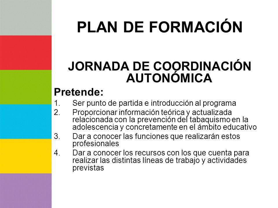 PLAN DE FORMACIÓN JORNADA DE COORDINACIÓN AUTONÓMICA Pretende: 1.Ser punto de partida e introducción al programa 2.Proporcionar información teórica y