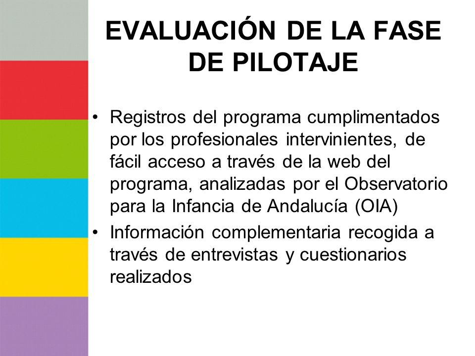 EVALUACIÓN DE LA FASE DE PILOTAJE Registros del programa cumplimentados por los profesionales intervinientes, de fácil acceso a través de la web del p