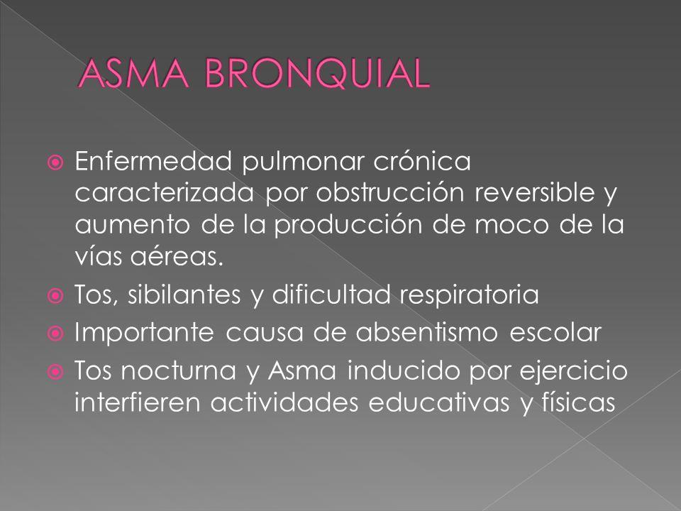 Enfermedad pulmonar crónica caracterizada por obstrucción reversible y aumento de la producción de moco de la vías aéreas. Tos, sibilantes y dificulta