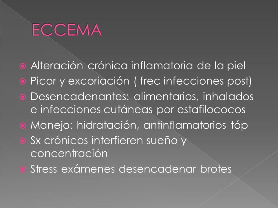 Alteración crónica inflamatoria de la piel Picor y excoriación ( frec infecciones post) Desencadenantes: alimentarios, inhalados e infecciones cutánea