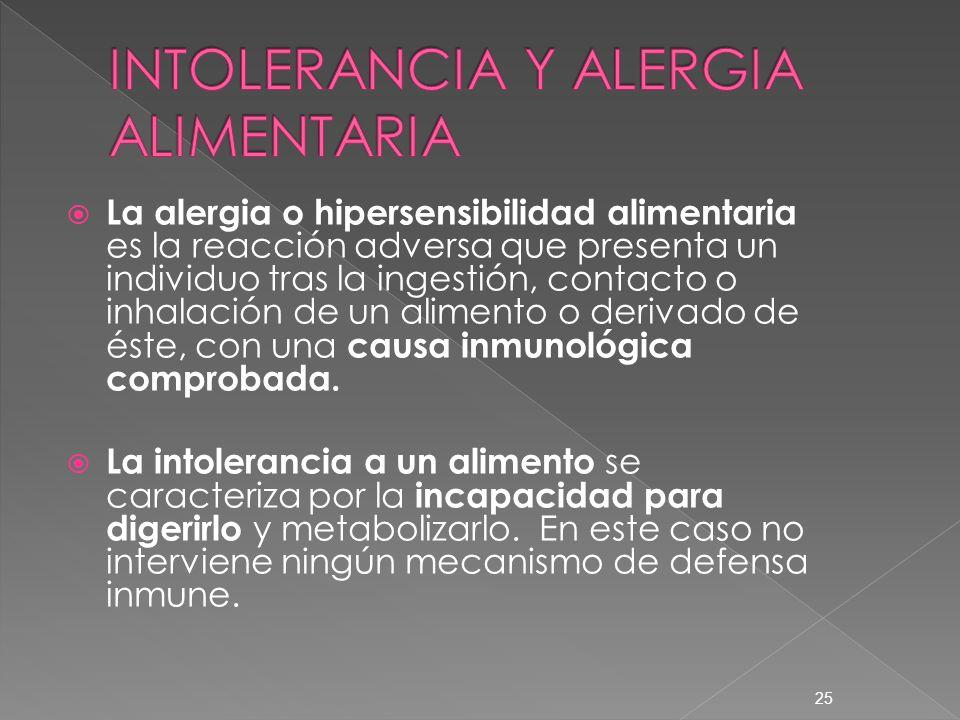 La alergia o hipersensibilidad alimentaria es la reacción adversa que presenta un individuo tras la ingestión, contacto o inhalación de un alimento o