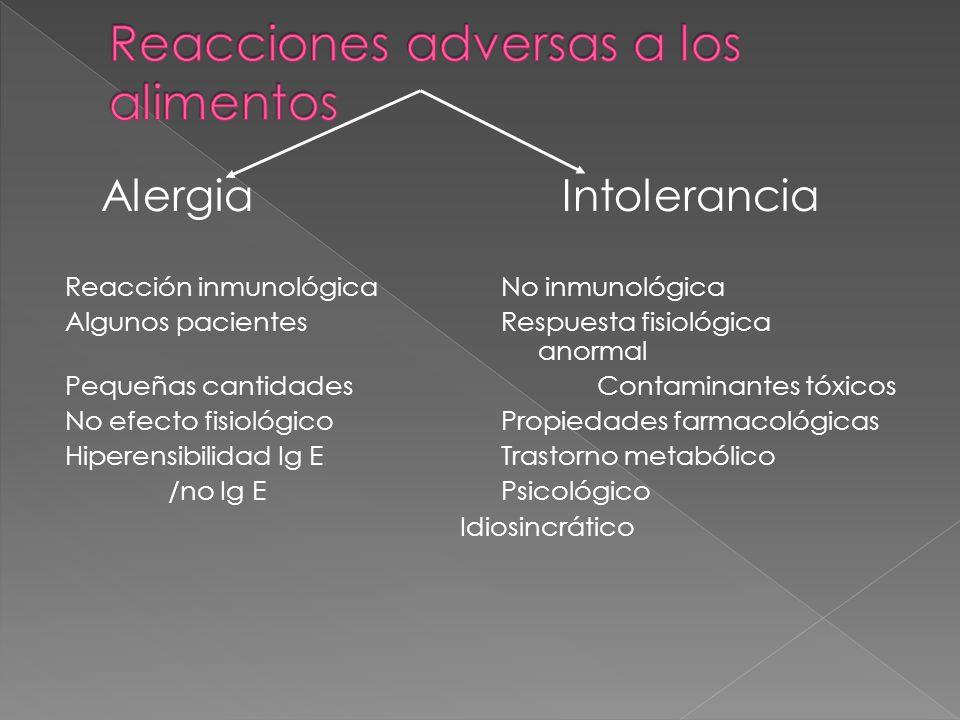 Alergia Intolerancia Reacción inmunológica No inmunológica Algunos pacientes Respuesta fisiológica anormal Pequeñas cantidades Contaminantes tóxicos N