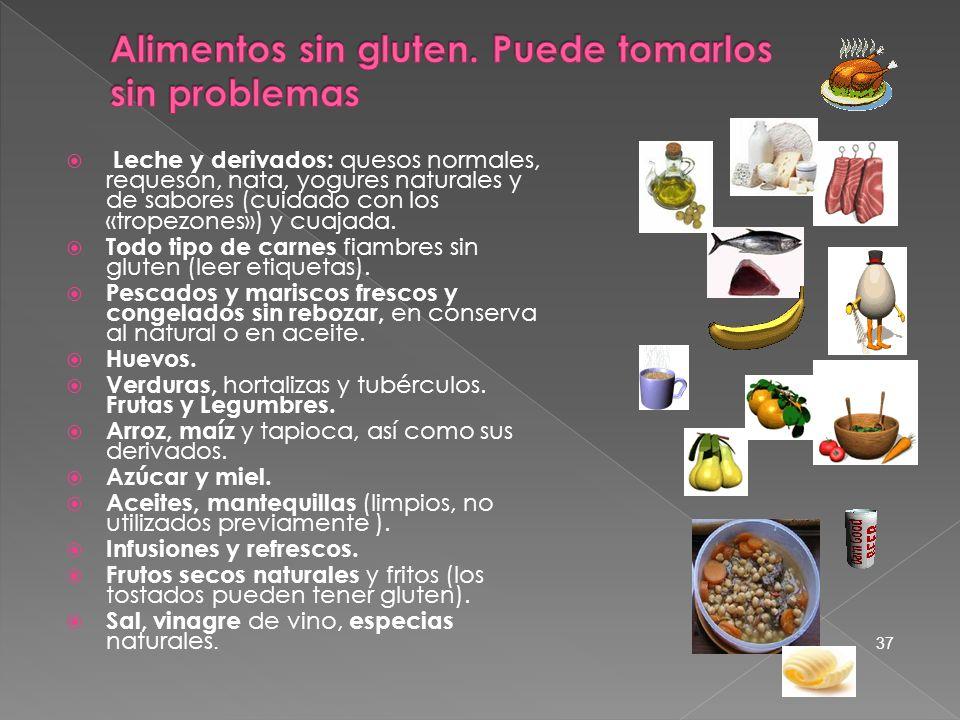 Leche y derivados: quesos normales, requesón, nata, yogures naturales y de sabores (cuidado con los «tropezones») y cuajada. Todo tipo de carnes fiamb