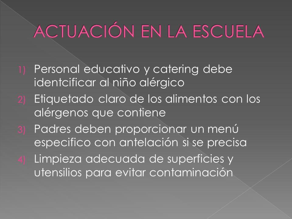 1) Personal educativo y catering debe identcificar al niño alérgico 2) Etiquetado claro de los alimentos con los alérgenos que contiene 3) Padres debe