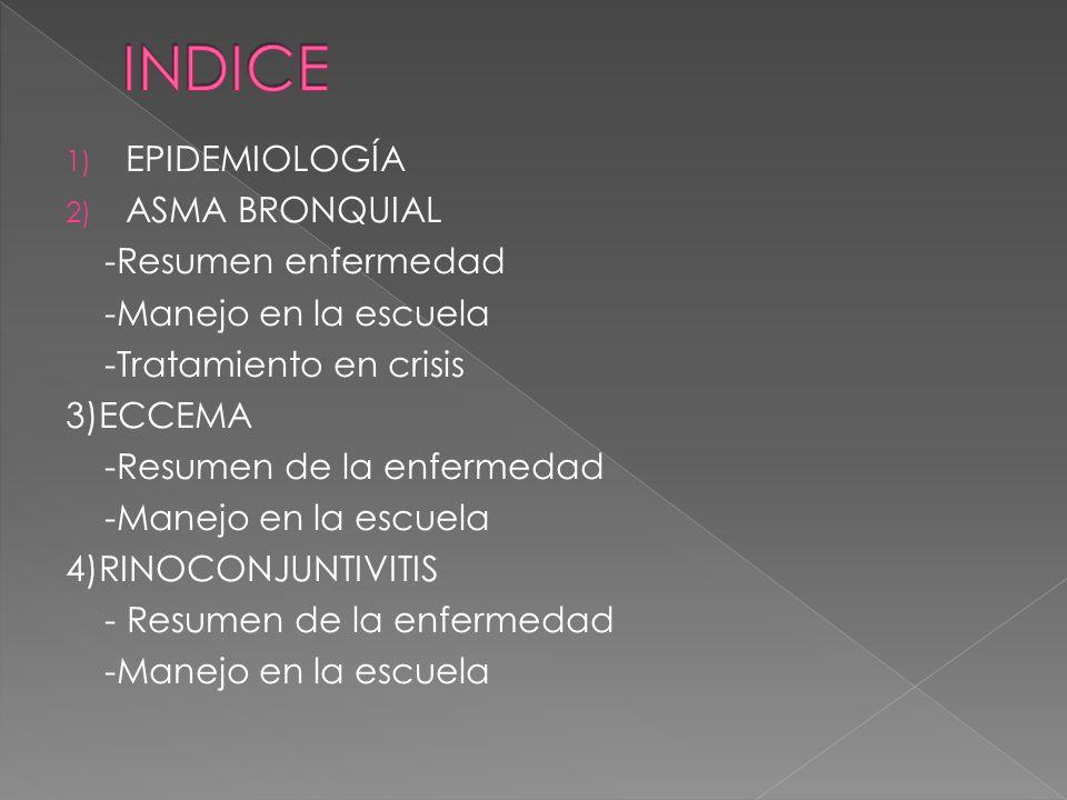 1) EPIDEMIOLOGÍA 2) ASMA BRONQUIAL -Resumen enfermedad -Manejo en la escuela -Tratamiento en crisis 3)ECCEMA -Resumen de la enfermedad -Manejo en la e