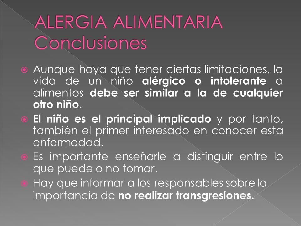 Aunque haya que tener ciertas limitaciones, la vida de un niño alérgico o intolerante a alimentos debe ser similar a la de cualquier otro niño. El niñ