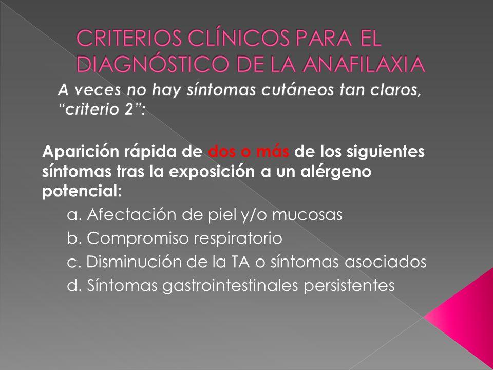 Aparición rápida de dos o más de los siguientes síntomas tras la exposición a un alérgeno potencial: a. Afectación de piel y/o mucosas b. Compromiso r