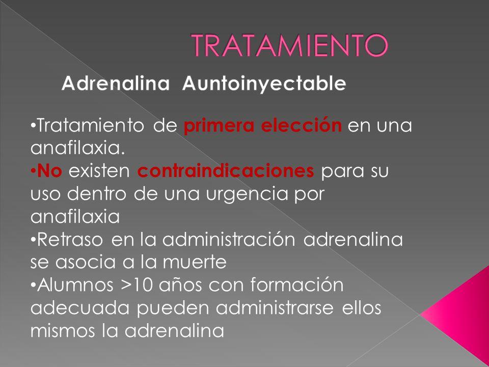 Tratamiento de primera elección en una anafilaxia. No existen contraindicaciones para su uso dentro de una urgencia por anafilaxia Retraso en la admin