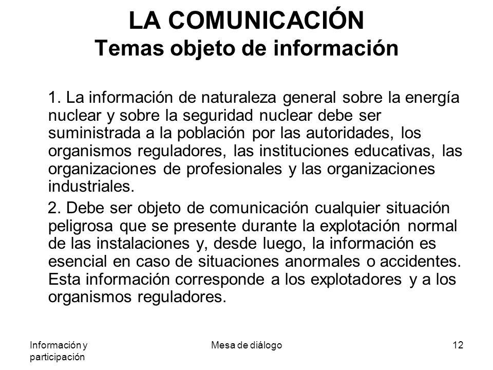 Información y participación Mesa de diálogo12 LA COMUNICACIÓN Temas objeto de información 1.