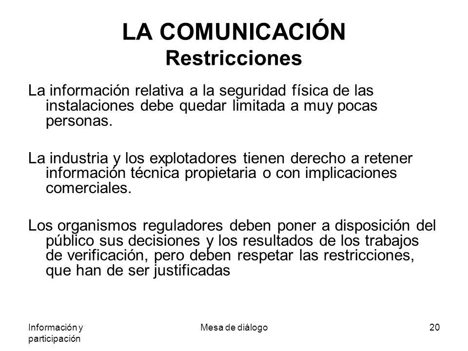 Información y participación Mesa de diálogo20 LA COMUNICACIÓN Restricciones La información relativa a la seguridad física de las instalaciones debe quedar limitada a muy pocas personas.