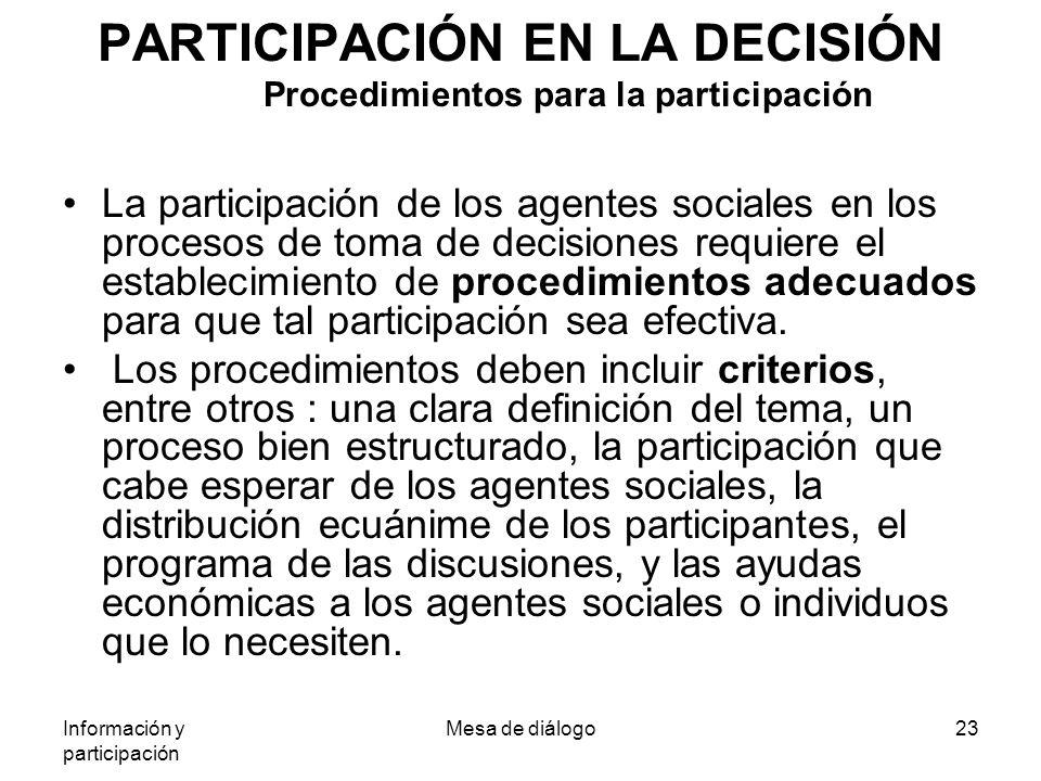 Información y participación Mesa de diálogo23 PARTICIPACIÓN EN LA DECISIÓN Procedimientos para la participación La participación de los agentes sociales en los procesos de toma de decisiones requiere el establecimiento de procedimientos adecuados para que tal participación sea efectiva.