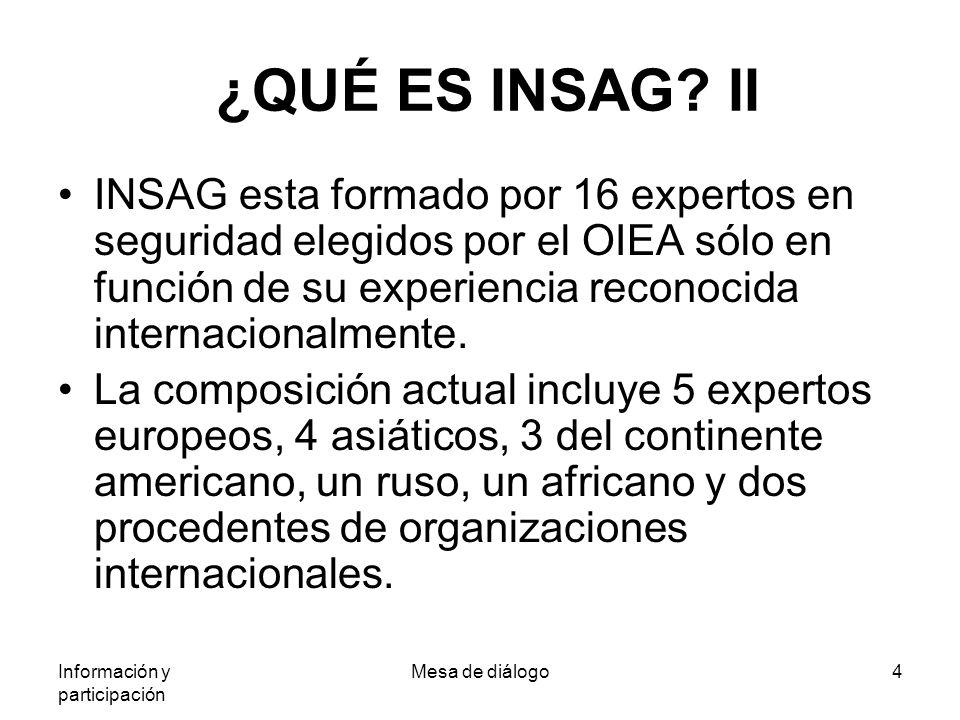 Información y participación Mesa de diálogo4 ¿QUÉ ES INSAG.