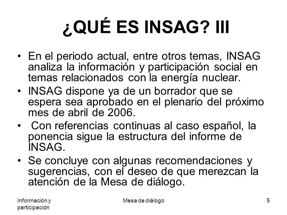 Información y participación Mesa de diálogo5 ¿QUÉ ES INSAG.