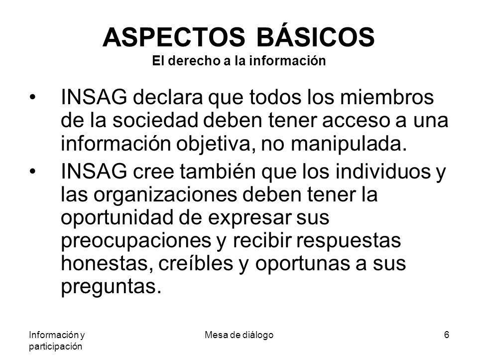 Información y participación Mesa de diálogo6 ASPECTOS BÁSICOS El derecho a la información INSAG declara que todos los miembros de la sociedad deben tener acceso a una información objetiva, no manipulada.