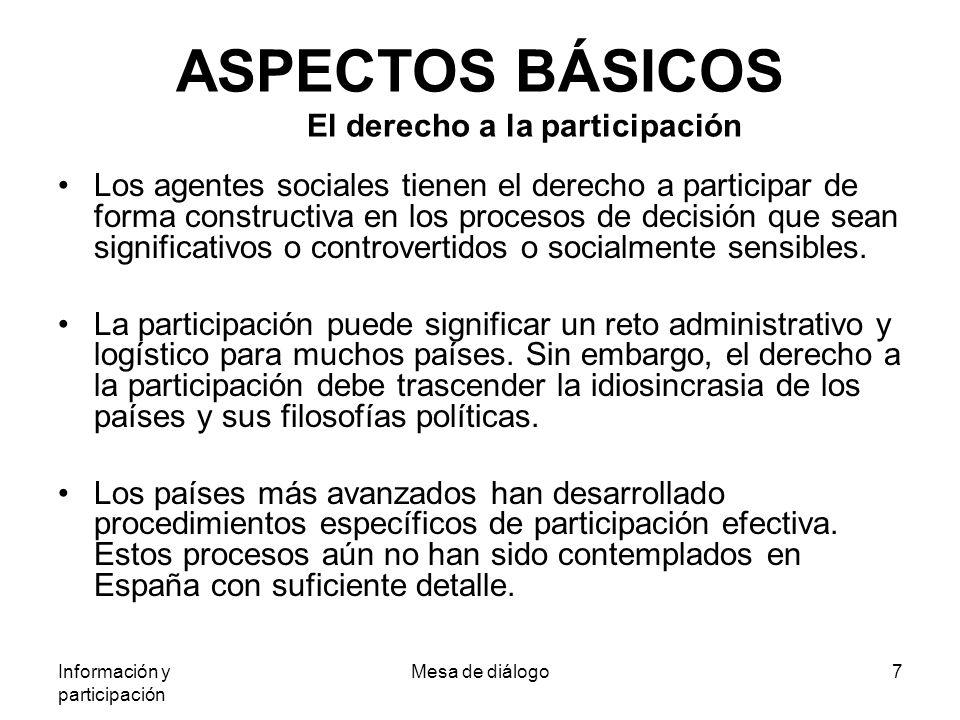 Información y participación Mesa de diálogo7 ASPECTOS BÁSICOS El derecho a la participación Los agentes sociales tienen el derecho a participar de forma constructiva en los procesos de decisión que sean significativos o controvertidos o socialmente sensibles.