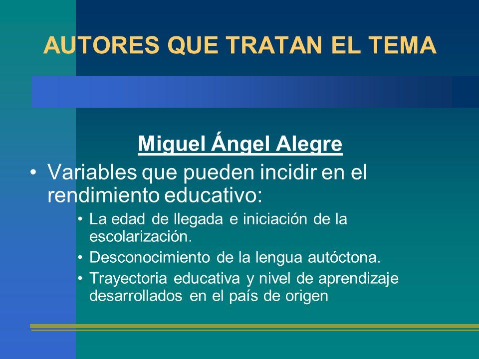 AUTORES QUE TRATAN EL TEMA Miguel Ángel Alegre Variables que pueden incidir en el rendimiento educativo: La edad de llegada e iniciación de la escolar