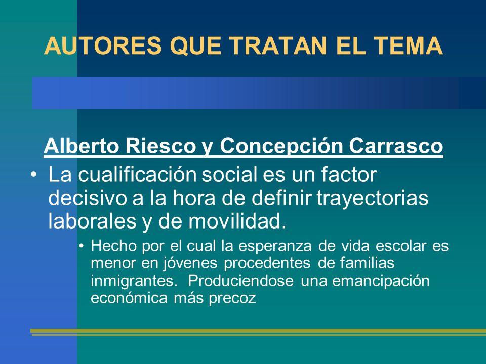 AUTORES QUE TRATAN EL TEMA Alberto Riesco y Concepción Carrasco La cualificación social es un factor decisivo a la hora de definir trayectorias labora