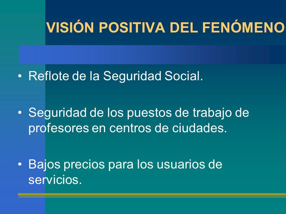 VISIÓN POSITIVA DEL FENÓMENO Reflote de la Seguridad Social. Seguridad de los puestos de trabajo de profesores en centros de ciudades. Bajos precios p