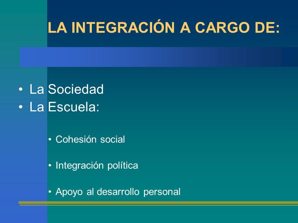 LA INTEGRACIÓN A CARGO DE: La Sociedad La Escuela: Cohesión social Integración política Apoyo al desarrollo personal