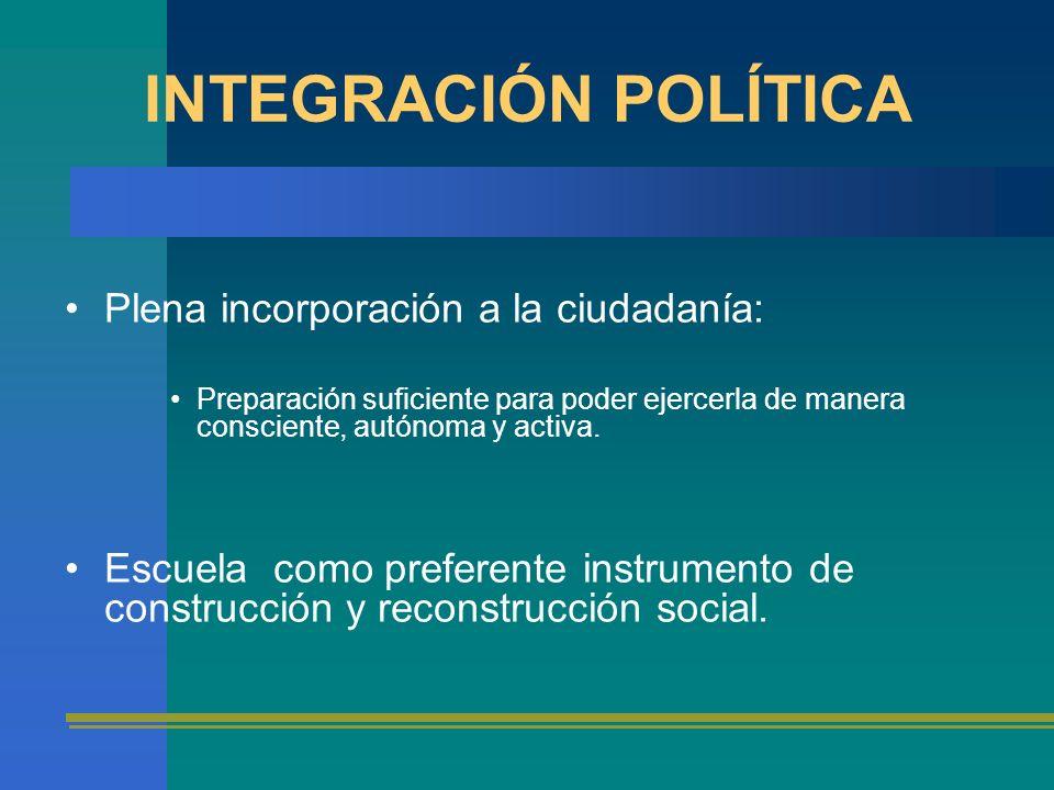 INTEGRACIÓN POLÍTICA Plena incorporación a la ciudadanía: Preparación suficiente para poder ejercerla de manera consciente, autónoma y activa. Escuela