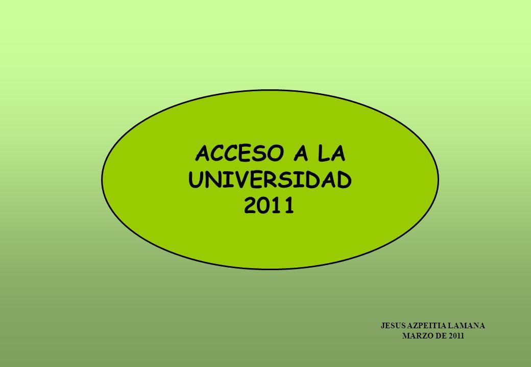 ACCESO A LA UNIVERSIDAD 2011 JESUS AZPEITIA LAMANA MARZO DE 2011