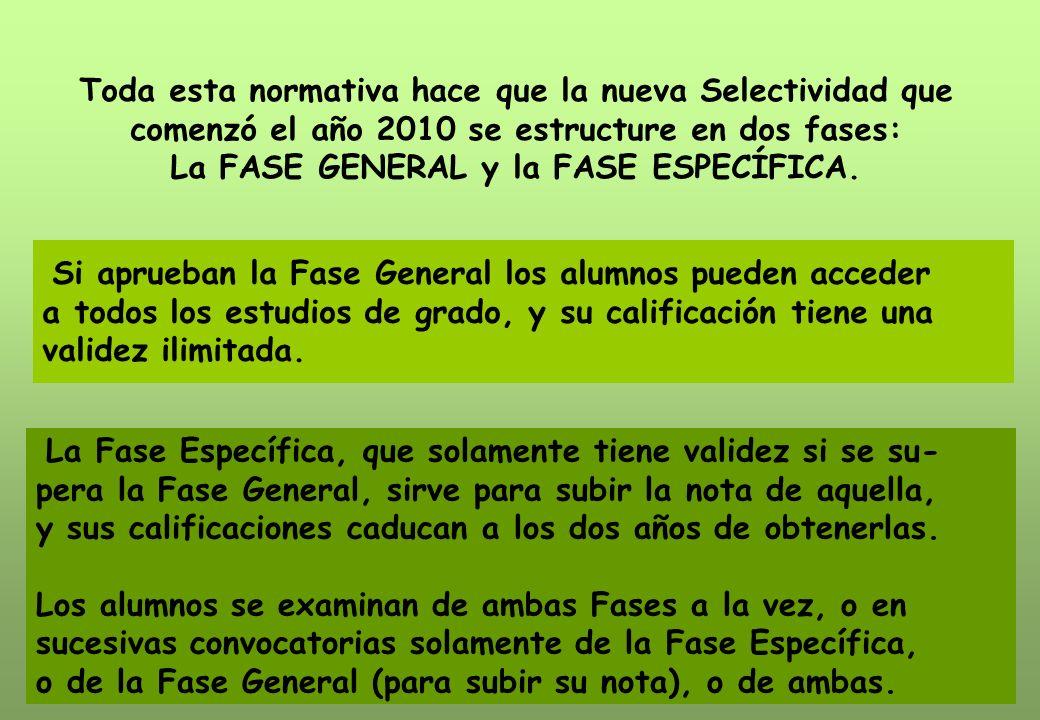 Toda esta normativa hace que la nueva Selectividad que comenzó el año 2010 se estructure en dos fases: La FASE GENERAL y la FASE ESPECÍFICA.