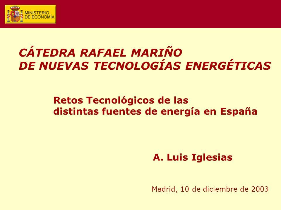 Retos Tecnológicos de las distintas fuentes de energía en España A. Luis Iglesias Madrid, 10 de diciembre de 2003 CÁTEDRA RAFAEL MARIÑO DE NUEVAS TECN