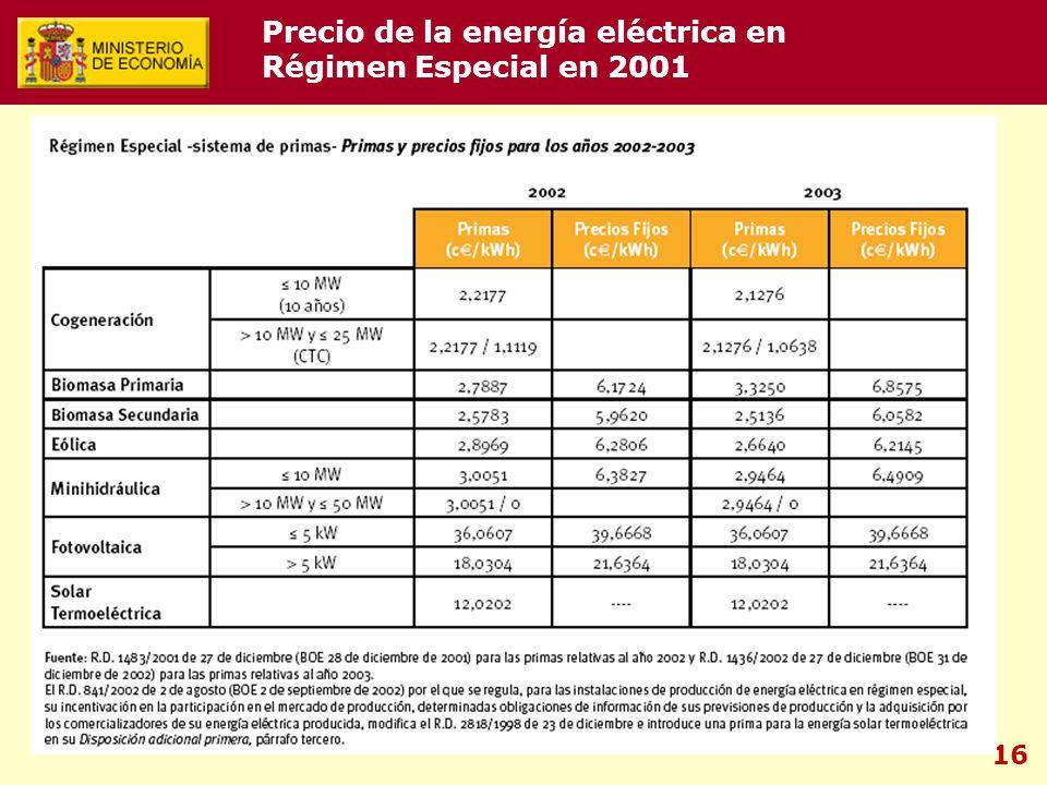 16 Precio de la energía eléctrica en Régimen Especial en 2001