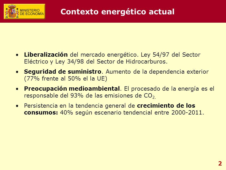 2 Liberalización del mercado energético. Ley 54/97 del Sector Eléctrico y Ley 34/98 del Sector de Hidrocarburos. Seguridad de suministro. Aumento de l