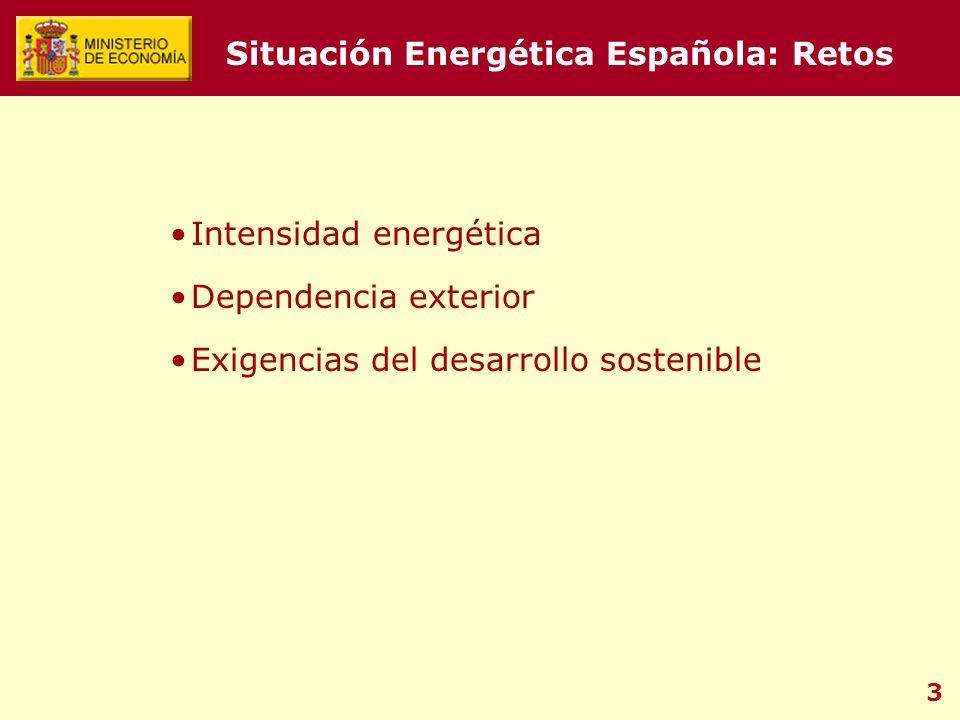 3 Situación Energética Española: Retos Intensidad energética Dependencia exterior Exigencias del desarrollo sostenible