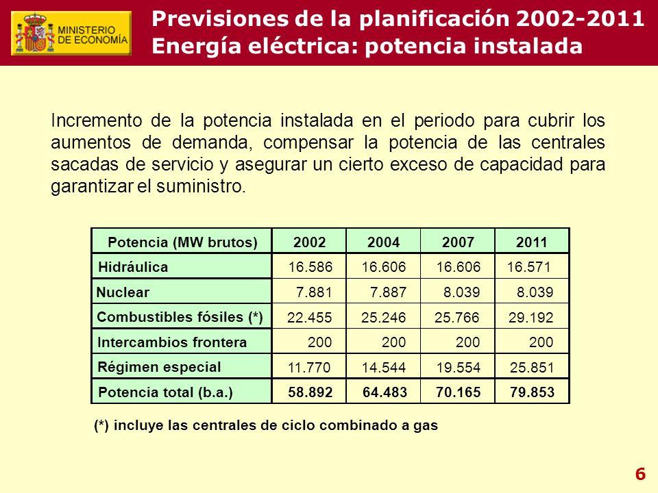 6 Previsiones de la planificación 2002-2011 Energía eléctrica: potencia instalada Incremento de la potencia instalada en el periodo para cubrir los aumentos de demanda, compensar la potencia de las centrales sacadas de servicio y asegurar un cierto exceso de capacidad para garantizar el suministro.