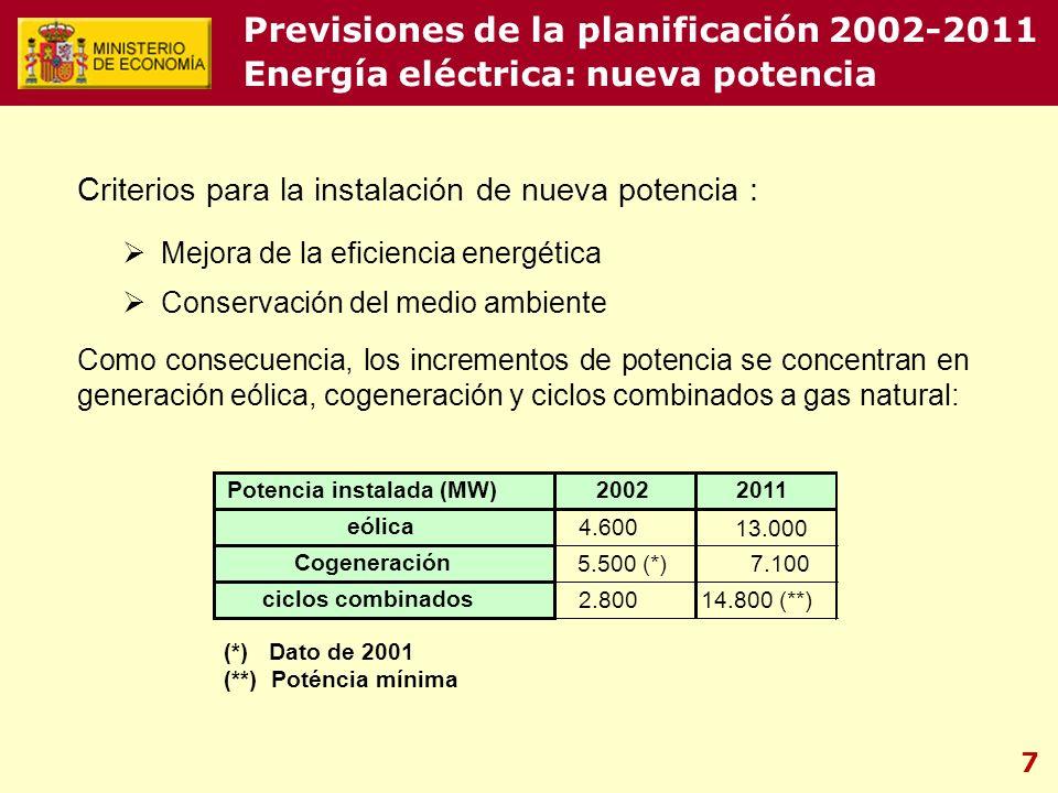 7 Criterios para la instalación de nueva potencia : Mejora de la eficiencia energética Conservación del medio ambiente Como consecuencia, los incrementos de potencia se concentran en generación eólica, cogeneración y ciclos combinados a gas natural: Potencia instalada (MW)20022011 eólica 4.600 13.000 Cogeneración 5.500 (*) 7.100 ciclos combinados 2.80014.800 (**) (*) Dato de 2001 (**) Poténcia mínima Previsiones de la planificación 2002-2011 Energía eléctrica: nueva potencia