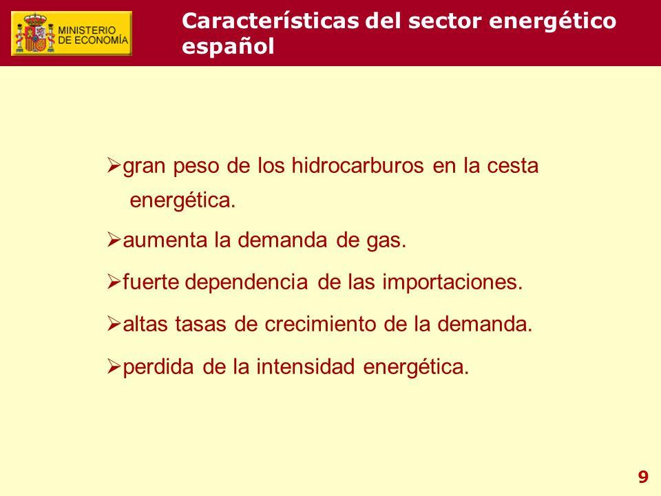 9 gran peso de los hidrocarburos en la cesta energética. aumenta la demanda de gas. fuerte dependencia de las importaciones. altas tasas de crecimient