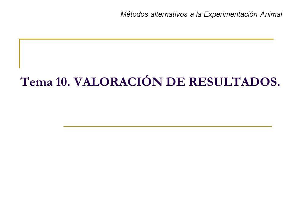 Tema 10. VALORACIÓN DE RESULTADOS. Métodos alternativos a la Experimentación Animal